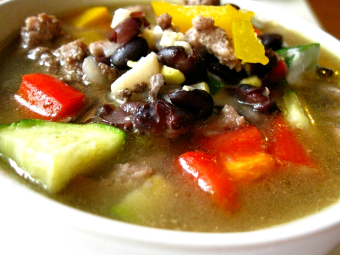 Black bean zucchini corn and bell pepper soup