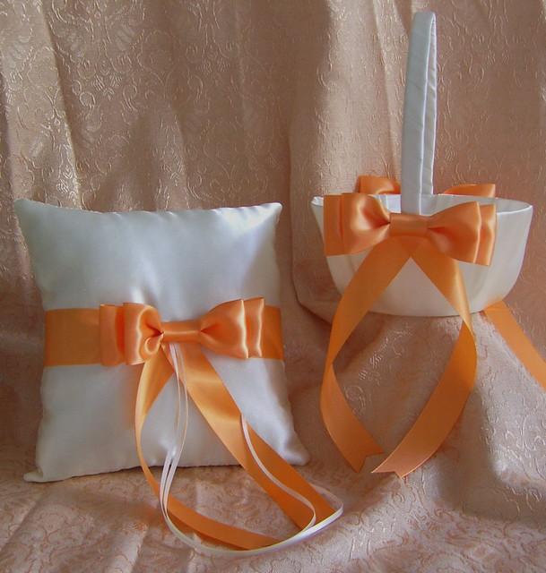 Creamsicle Orange Wedding Flower Girl Basket And Ring Pillow Set