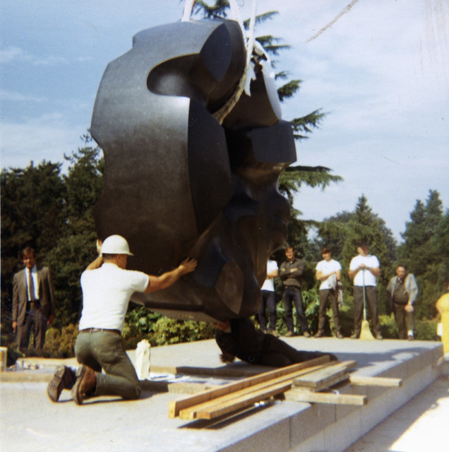 Installing Black Sun at Volunteer Park, 1969