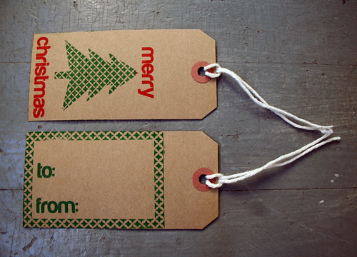 Gocco gift tag front and back by Deucecities Henhouse