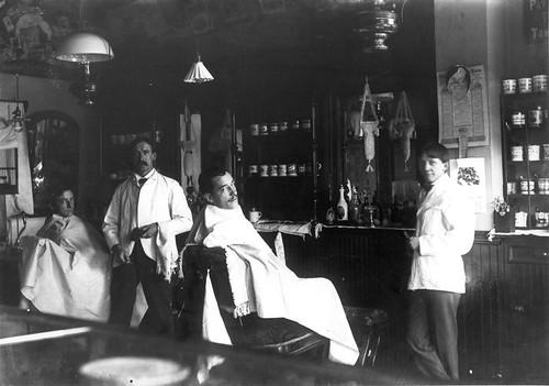 Frederick Keller's Barbershop, College Point, ca. 1900