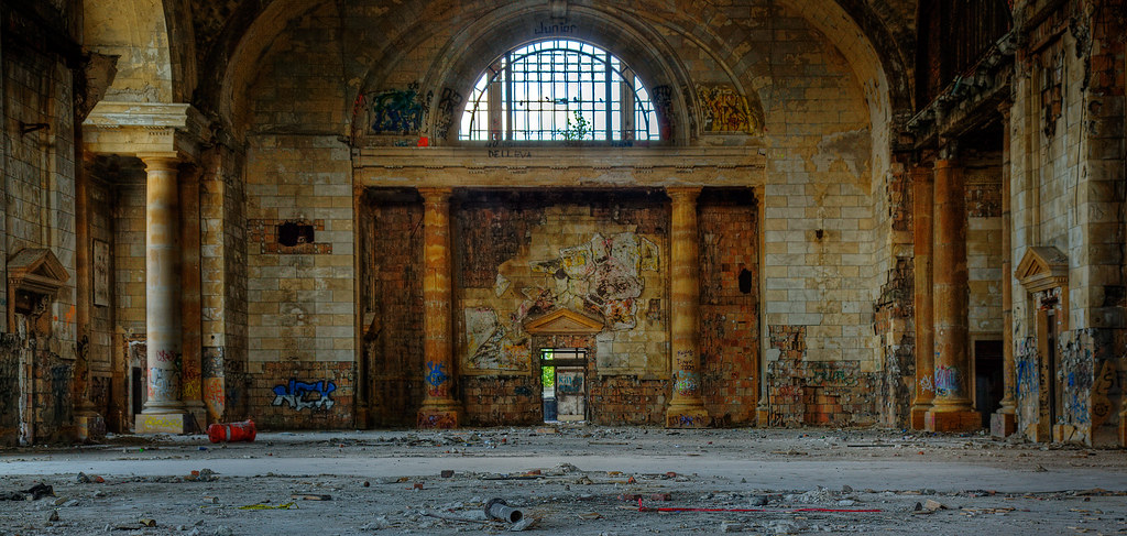 Abandoned train station, panorama