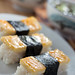 Tamago sushi and miso soup