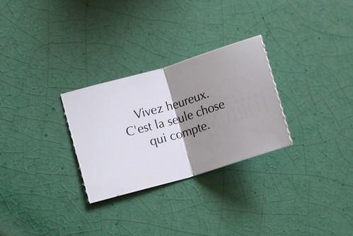 """Un  """"Fortune"""", issu d'une boite offerte par Damien et Sophie"""