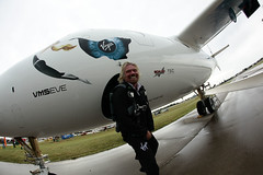 Sir Richard Branson infront of VMS Eve. Credit Mark Greenberg