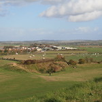 View from Old Sarum Castle, Salisbury, Wiltshire, South West England