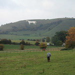 The White Horse viewed from a distance - Westbury Hill, Bratton Downs, Westbury, Wiltshire, South West England