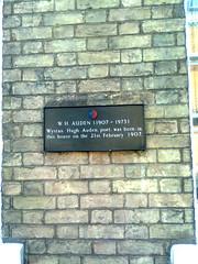 Photo of W. H. Auden black plaque