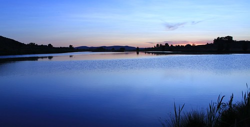 blue sunset lake