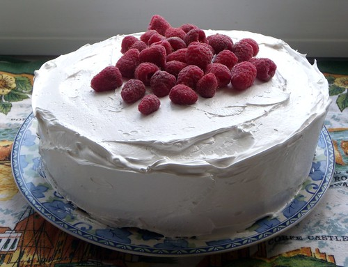 Yellow Cake w/ Raspberries