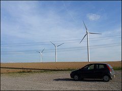My FIAT Punto in front of wind turbines