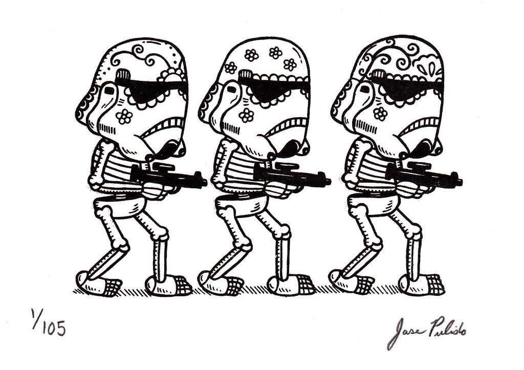 Storm Trooper Calaveras Gocco Print