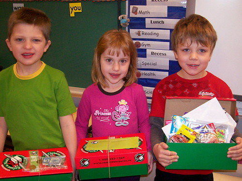 These kids packed shoeboxes for Operation Christmas Child!