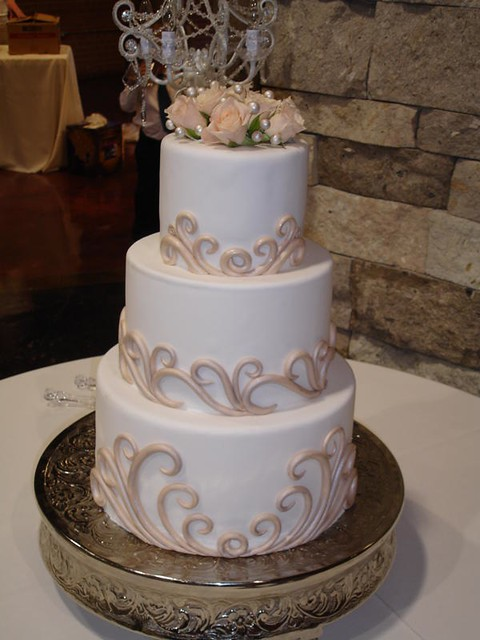 White Wedding Cake W Fondant Swirls