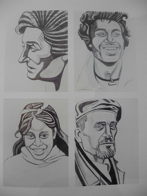 Sketches for Chicksand Street Mural Portraits 1979 Charcol on Paper 2