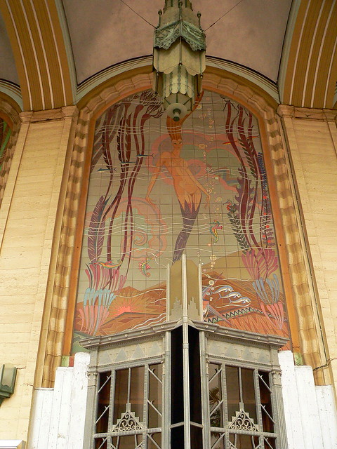 Pin art deco mural this is metal and stone on pinterest for Art deco tile mural