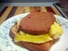 Open faced Fried egg and Braunschweiger sandwich o…