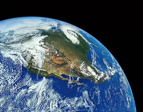 Earth and North America from Space - digitally restored