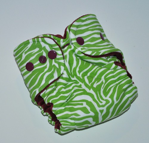 Newborn Hybrid Fitted  Lime Zebra Cotton Velour