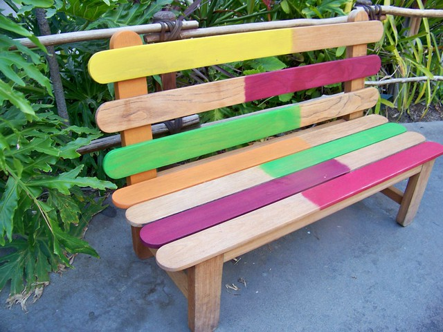 Popsicle Stick Bench At Princess Dot Puddle Park At Flik 39 S Fun Fair Flickr Photo Sharing