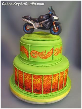 Kawasaki Motorcycle/Motorbike Cake