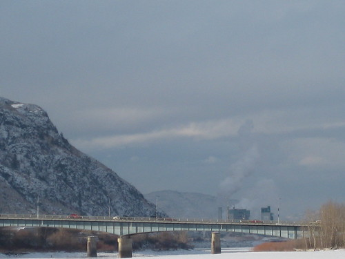 bridge winter mountains river kamloops