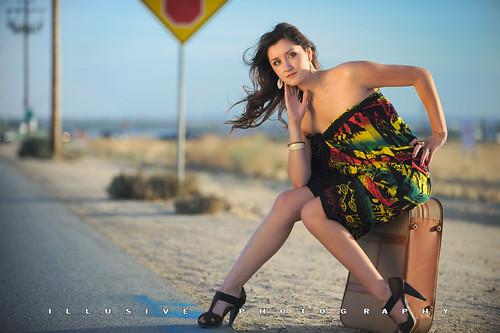 woman sexy brunette roadside suitcase kpa rasta bakersfield kerncounty nikond700