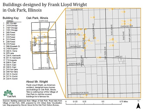 Frank Lloyd Wright Chicago Map.Graphic Design Photo V1 Buildings Designed By Frank Lloyd Wright