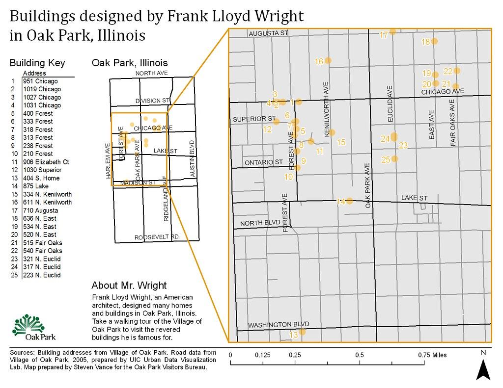 Oak Park Chicago Map.V1 Buildings Designed By Frank Lloyd Wright In Oak Park Flickr