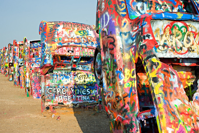 Cadillac Ranch in Amarillo, Texas by Flickr user oneeighteen