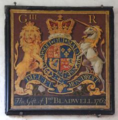 George III royal arms, the gift of Jno. Bladwell 1762