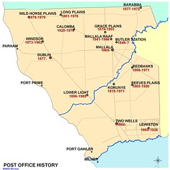 Postal office locations in the area of the District Council of Mallala