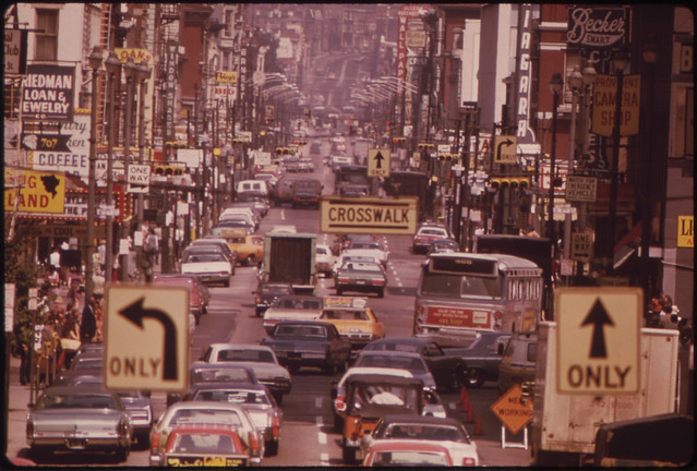 DOCUMERICA: Looking North Along Vine Street from the Overhead Walkway at Fountain Square 08/1973 by Tom Hubbard.
