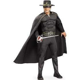 sexy black zorro with cape and patented muscle chest halloween costume for ...