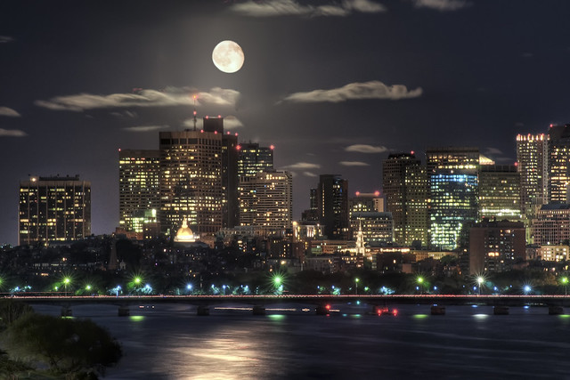 Moon over Boston