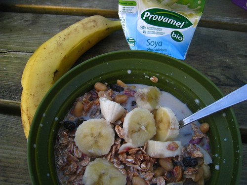Granola, Bananas, Berries, and Soy Milk