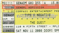 11/11/00 Type O Negative/Simon Says @ Minneapolis, MN (Ticket)
