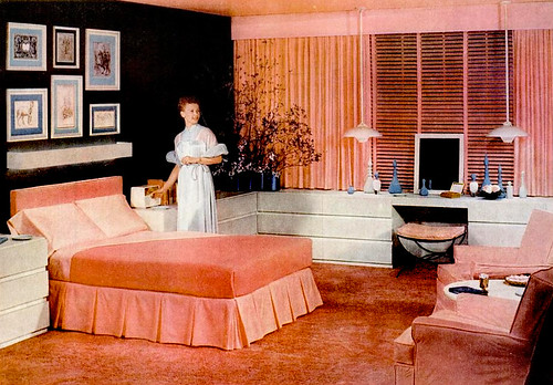 Early 50s bedrooms 1950 55 mid century living for 1950s apartment design