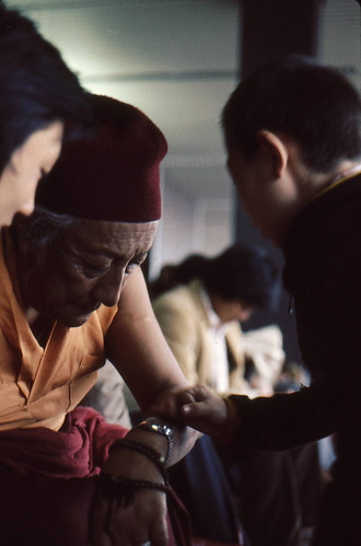 HH Dilgo Khyentse Rinpoche, checking the time, Rabjam Rinpoche,  Dhungsey Ani Sakya, 1976, SeaTac Airport,  Seattle, Washington, USA by Wonderlane