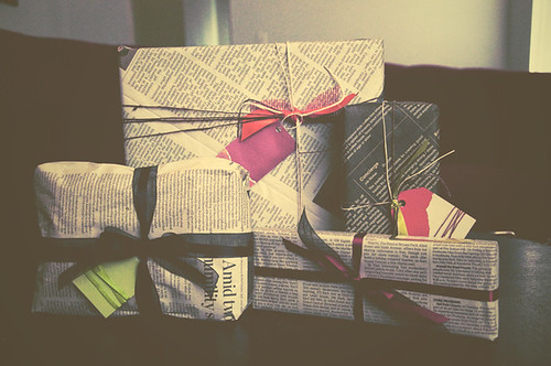Gifts wrapped in newspaper