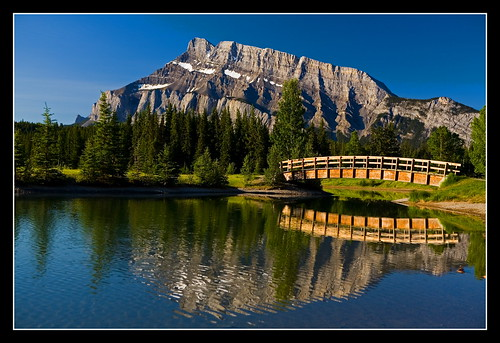morning bridge blue mountain reflection tree water sunrise alberta banff cascade legacy soe thenewflickr shieldofexcellence anawesomeshot theunforgettablepictures