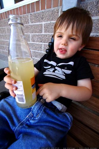 having a lemon soda on the bench outside safeway    MG 9265