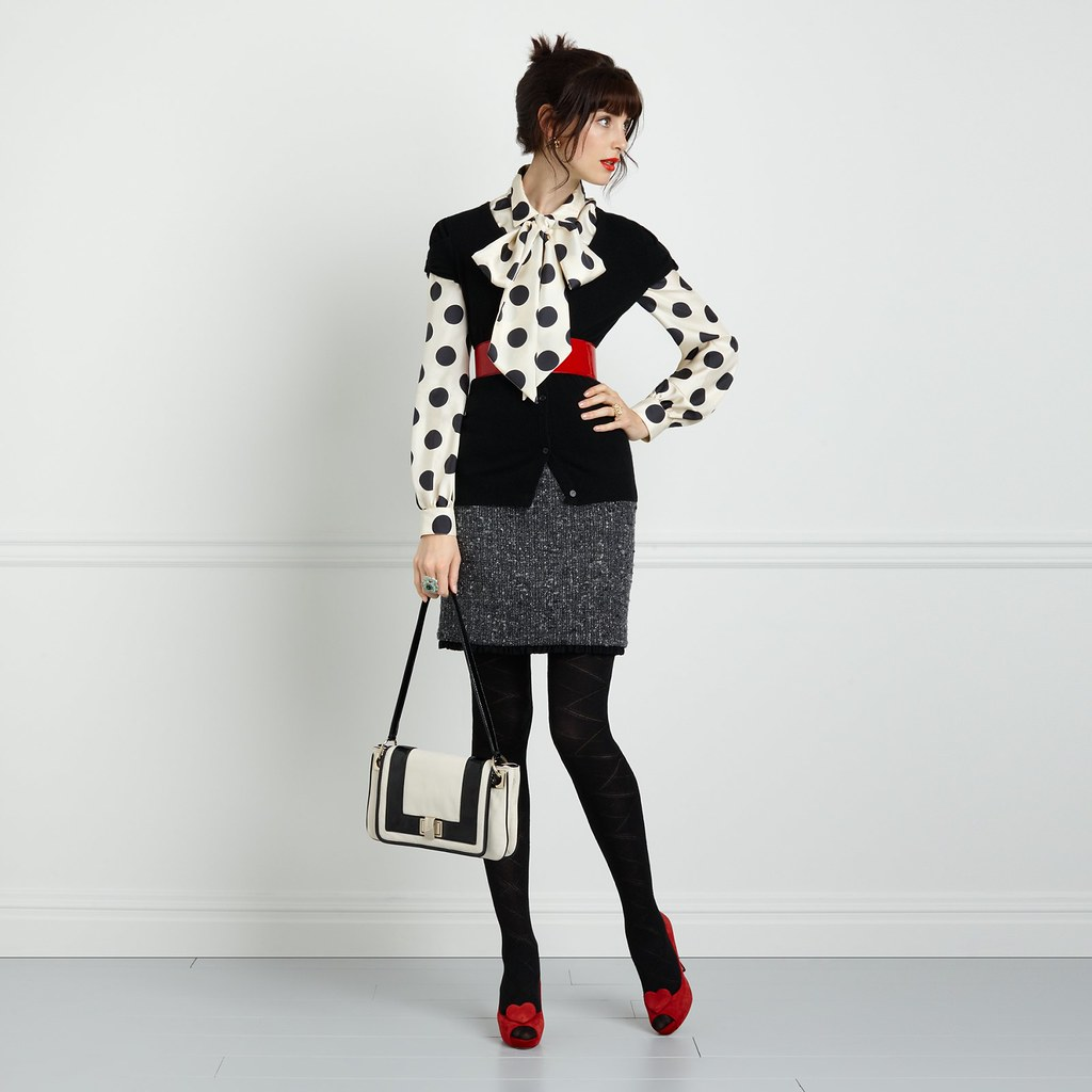 Madeleine Dot Balloon Sleeve Bow Blouse