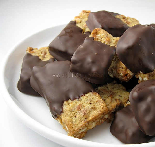 pretzel shortbread dipped in dark chocolate