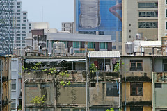 Urban elements seen from Asok BTS Skytrain station in Bangkok