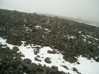 Rocks and snow near Langjokull glacier