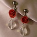 Red rose and water droplet earrings