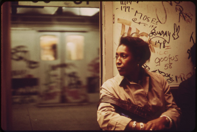 Interior of Graffiti-Marked Subway Car. 05/1973