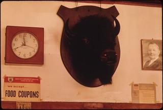 Buffalo Head Mounted Above Shelving in a Butcher Shop in New Ulm, Minnesota ..., 10/1974