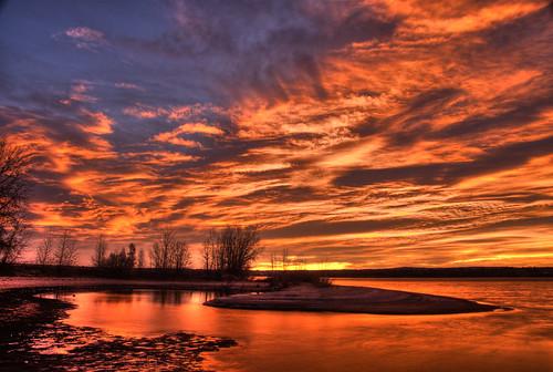 orange lake reflection nature sunrise landscape colorado denver chatfield littleton 200911 hdrspotting